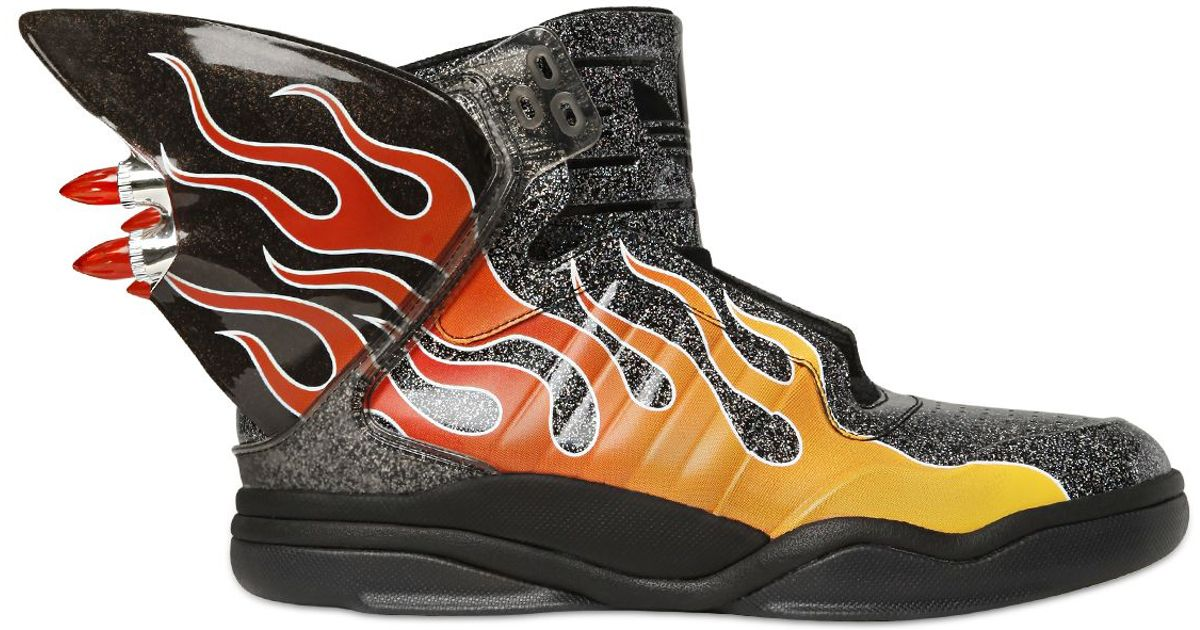 7a9876792597 ... Jeremy scott for adidas Js Shark Flame Glitter High Top Sneakers in  Black Lyst ...