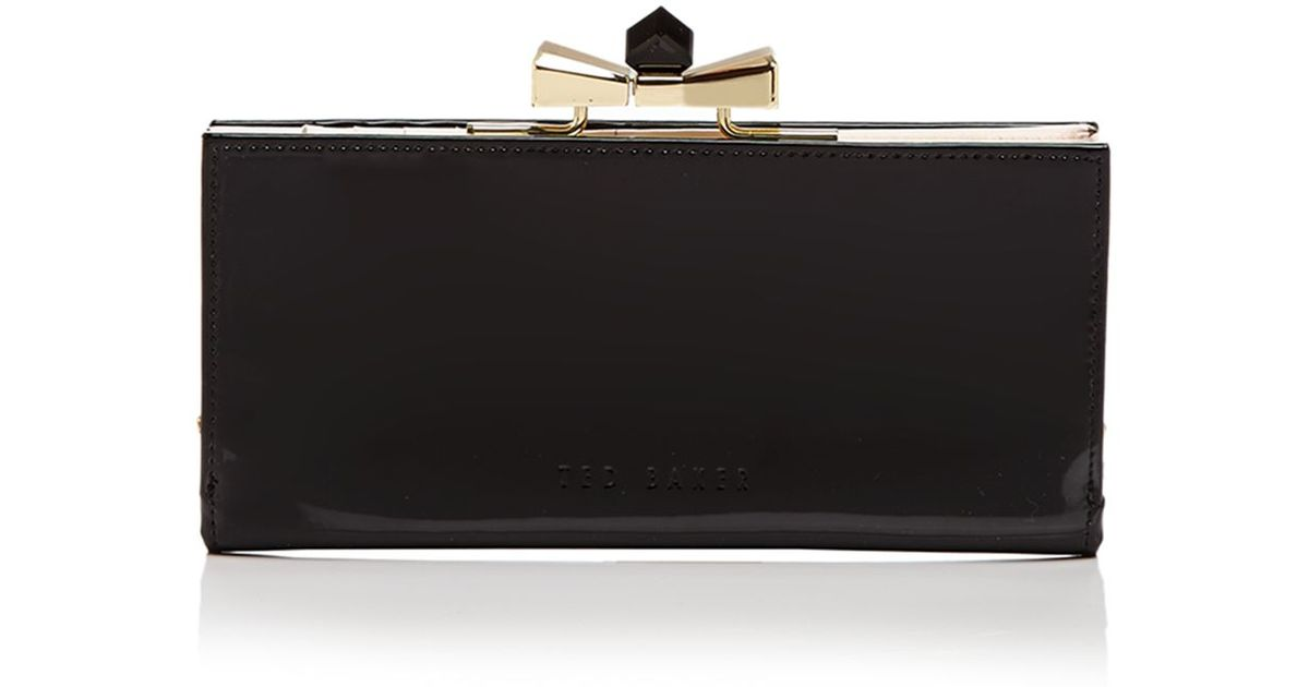 7e5453ba6314d Lyst - Ted Baker Wallet - Franny Patent Bow Popper Matinee in Black
