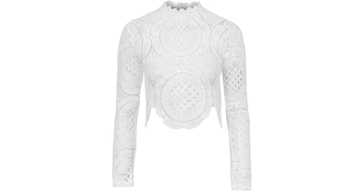 592ea267227 TOPSHOP Crochet Long Sleeve Crop By Glamorous in White - Lyst