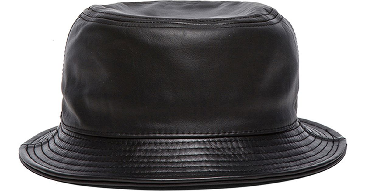 Lyst - Stampd Leather Bucket Hat in Black 1aa65a736c5