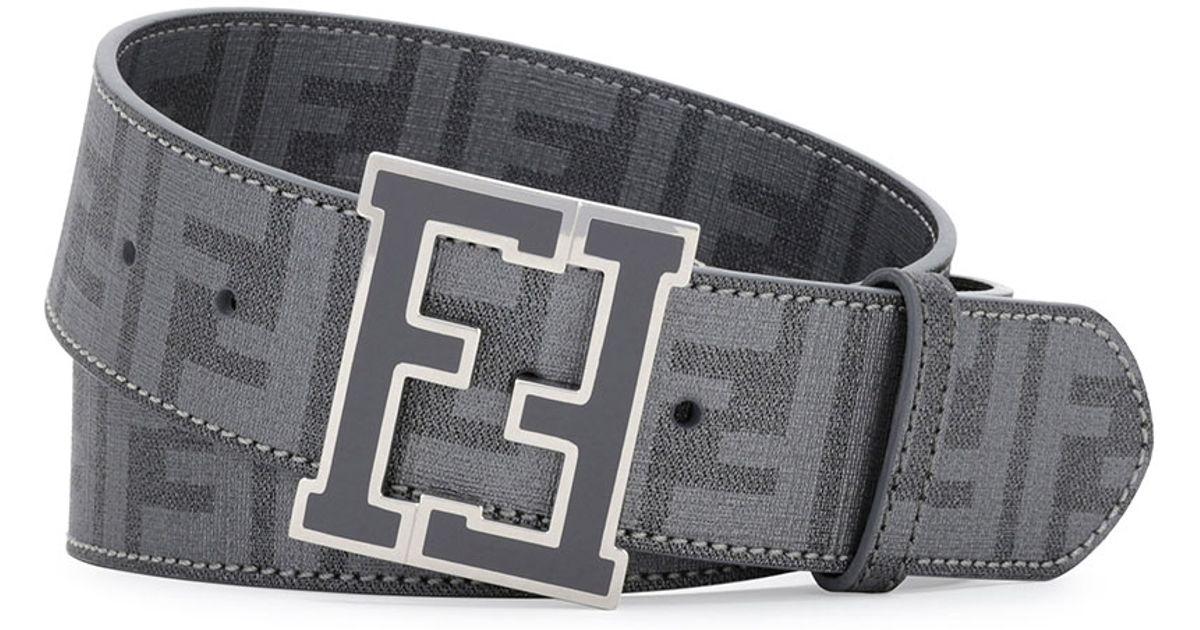 25424979eb09 ... sweden fendi zucca college brown belt in gray for men lyst 238f4 4014a