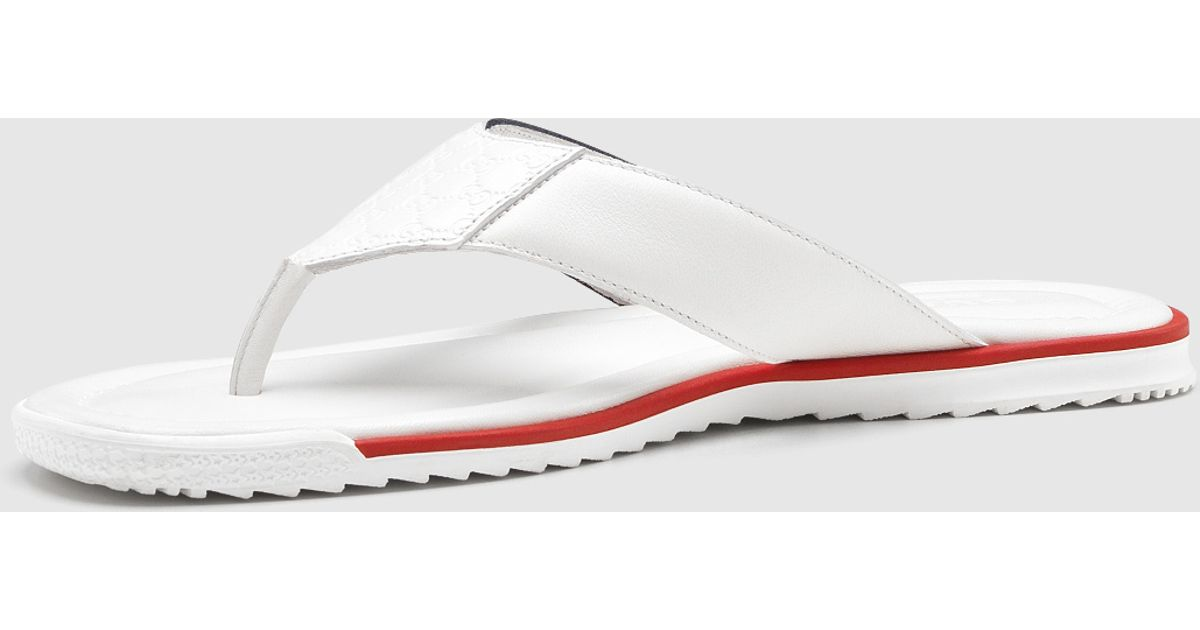 0c2c19c08fee4 Lyst - Gucci White Leather Thong Sandal in White for Men