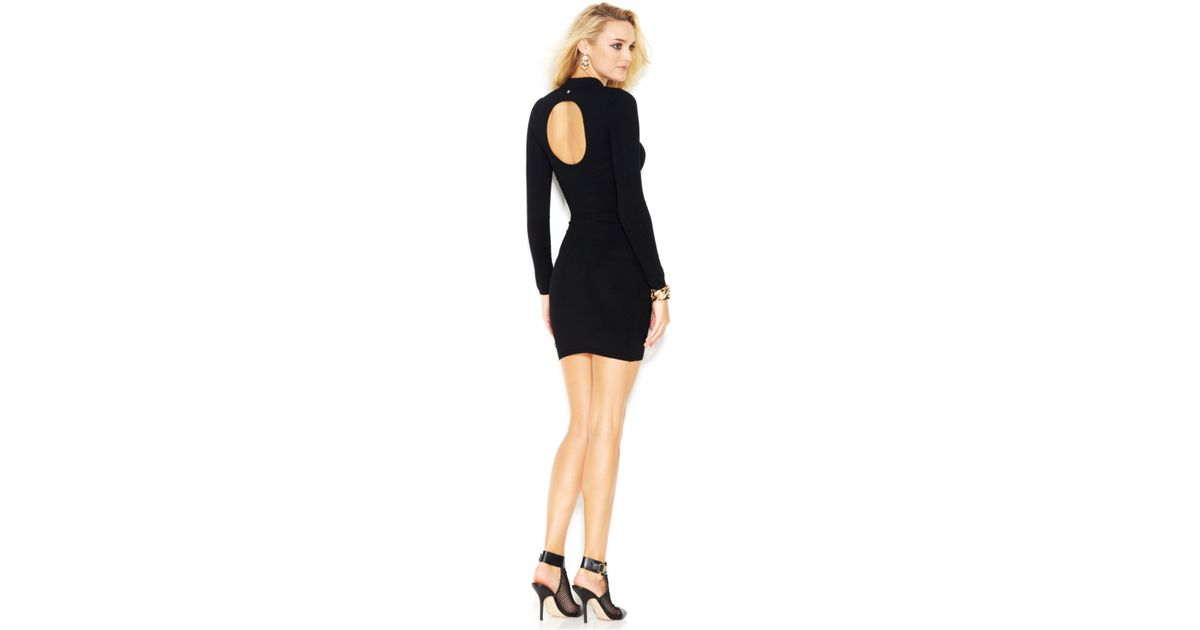 Lyst Guess Long Sleeve Mock Turtleneck Sweater Dress In Black