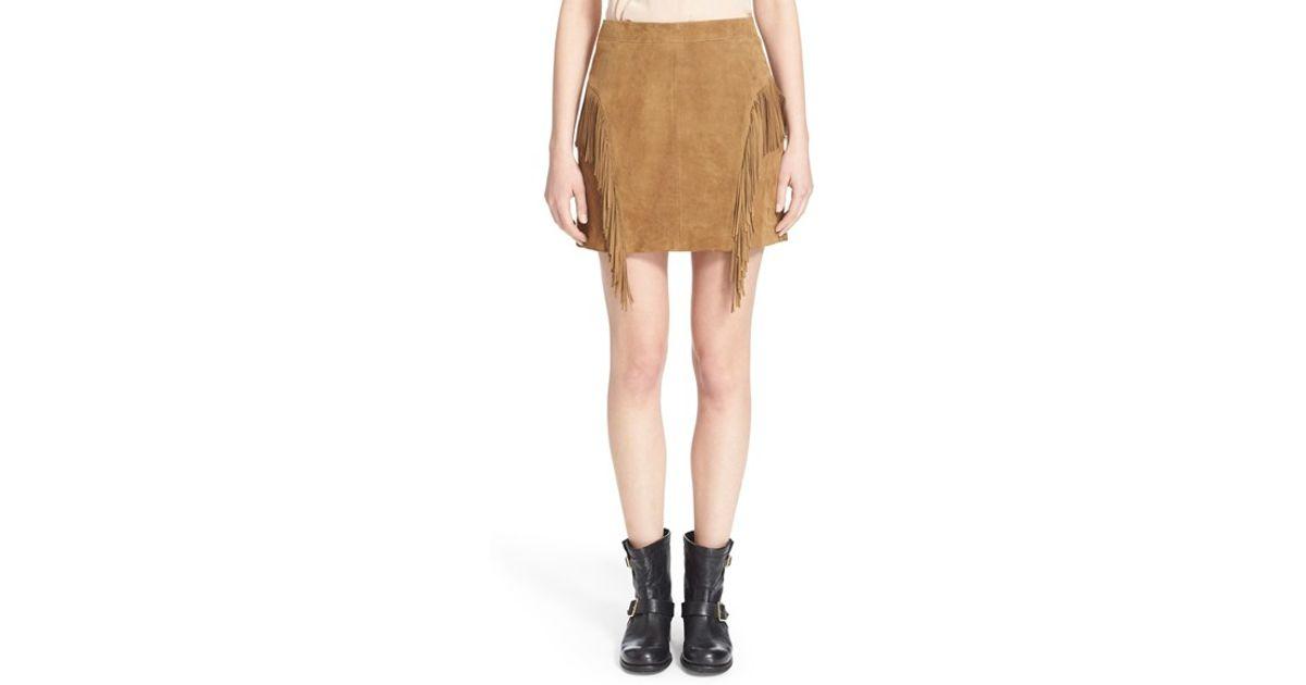 81e0afede40 Lyst - Saint Laurent Suede Fringe Mini Skirt in Brown