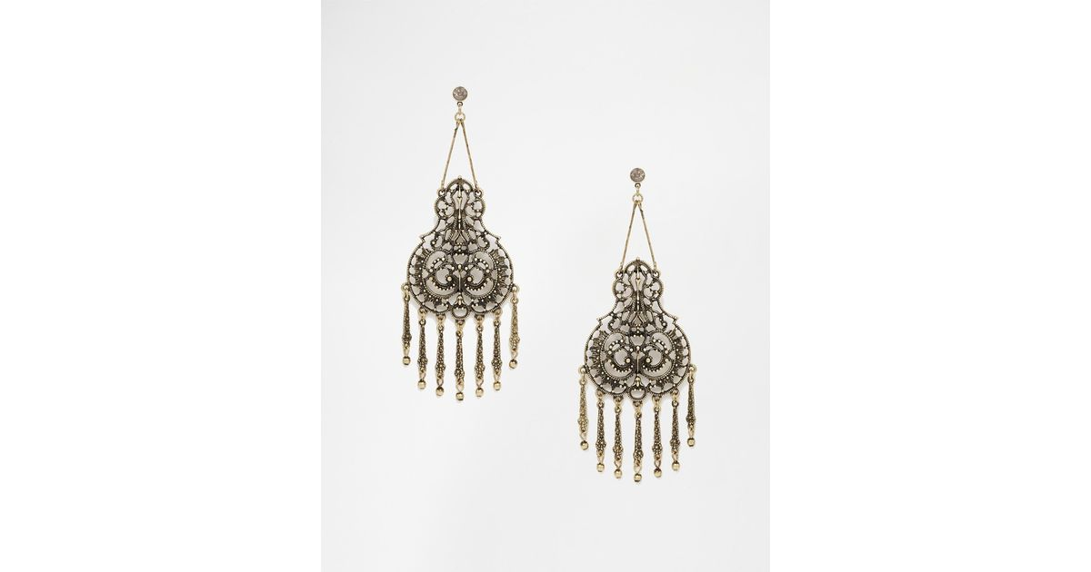 Asos Filigree Statement Filigree Chandelier Earrings in Metallic ...