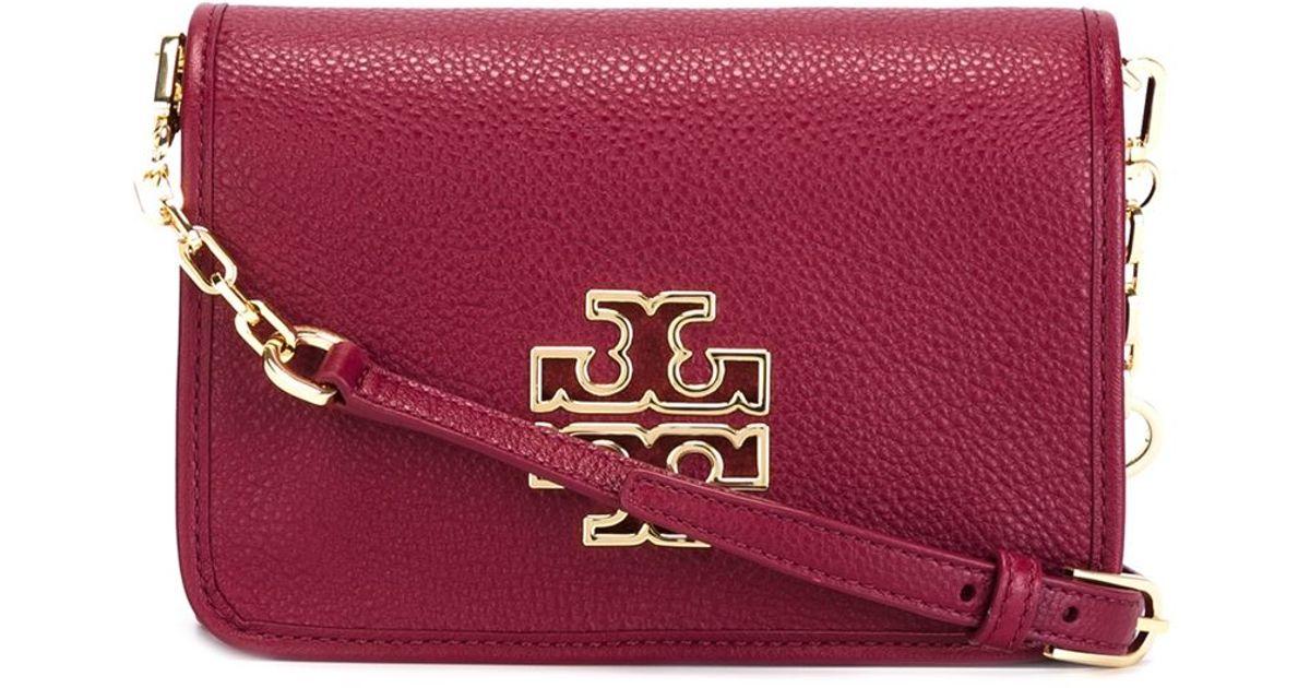 32beea33df9 Lyst - Tory Burch Logo Plaque Crossbody Bag in Pink