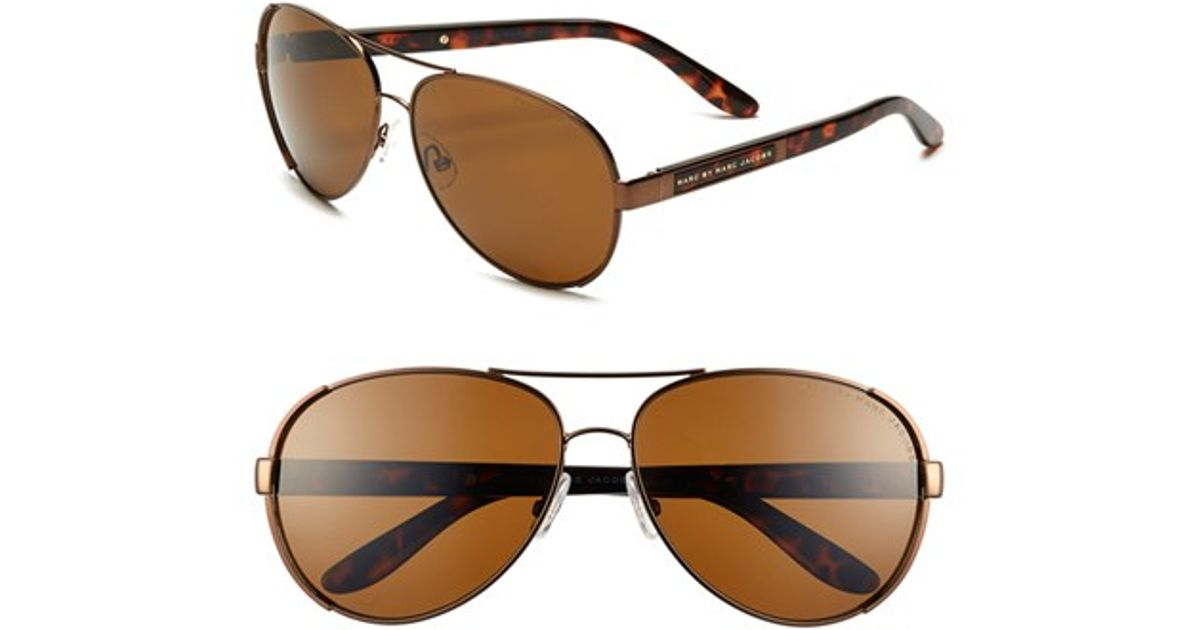 3f6eb721ba Lyst - Marc By Marc Jacobs 60mm Stainless Steel Aviator Sunglasses in Brown