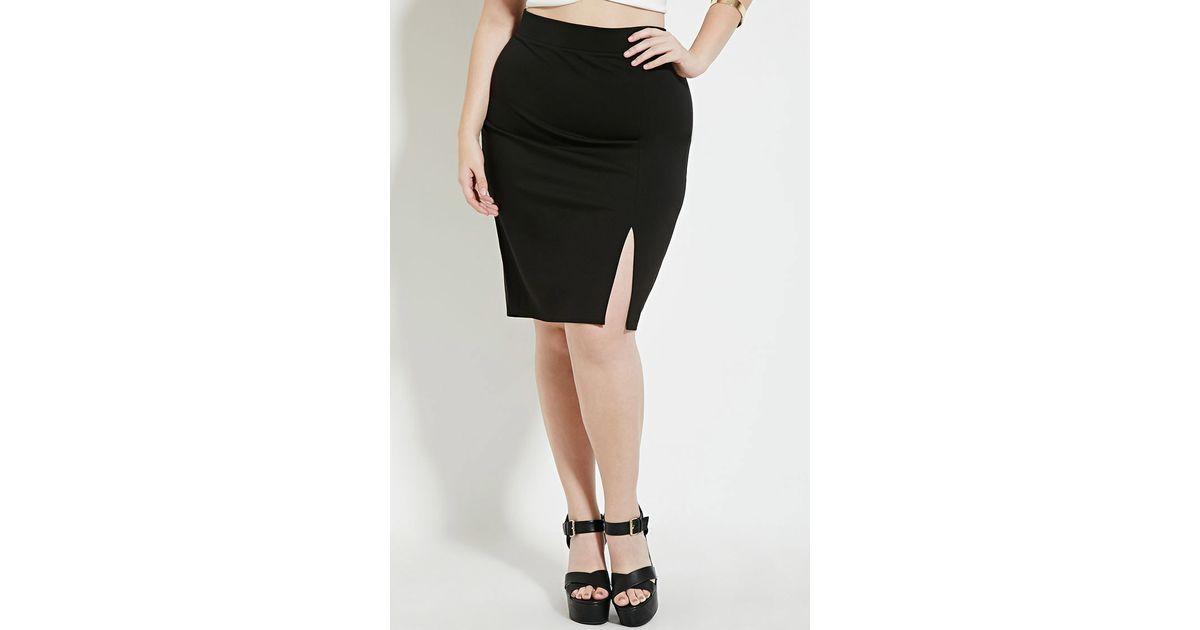 forever 21 plus size slit pencil skirt in black lyst