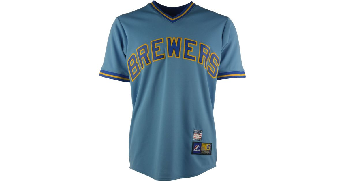 the best attitude 1eb72 1bf4e Majestic - Blue Men's Robin Yount Milwaukee Brewers Cooperstown Replica  Jersey - Lyst