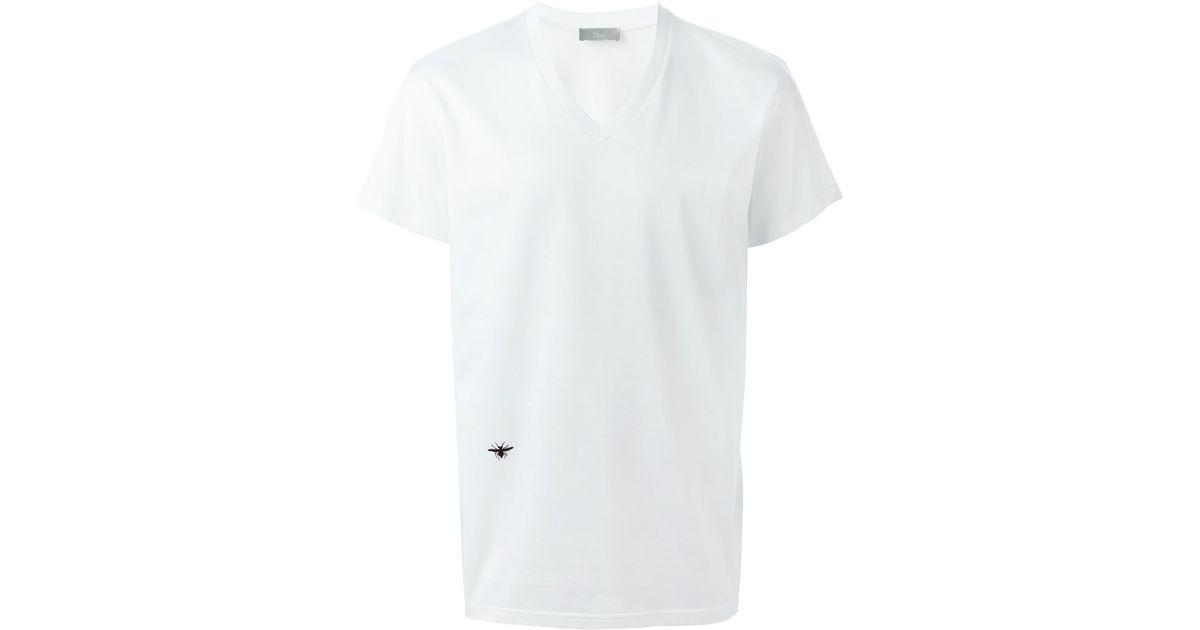 cd8fdfd7de3 Lyst - Dior Homme Insect Motif V Neck T-shirt in White for Men