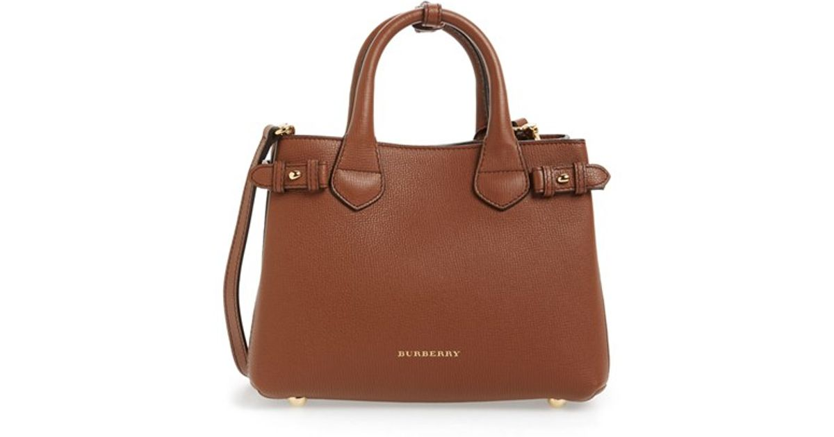 c07889037ae5 Burberry Banner Tote Small   Burberry small banner leather tote in brown  lyst