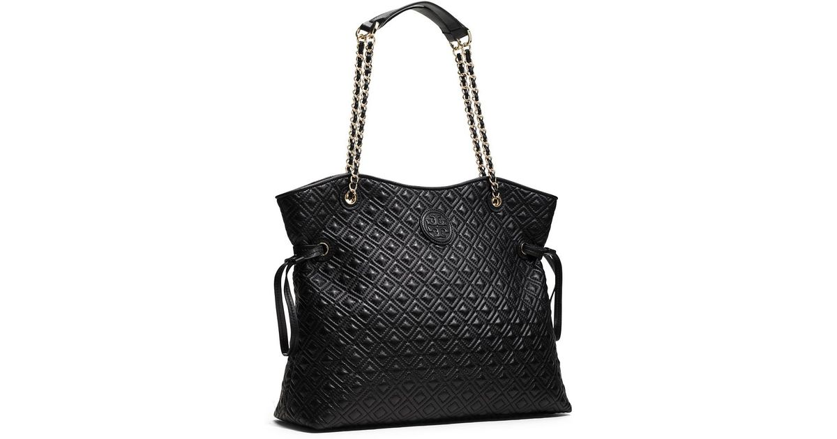 Tory Burch Marion Quilted Slouchy Tote In Black Lyst