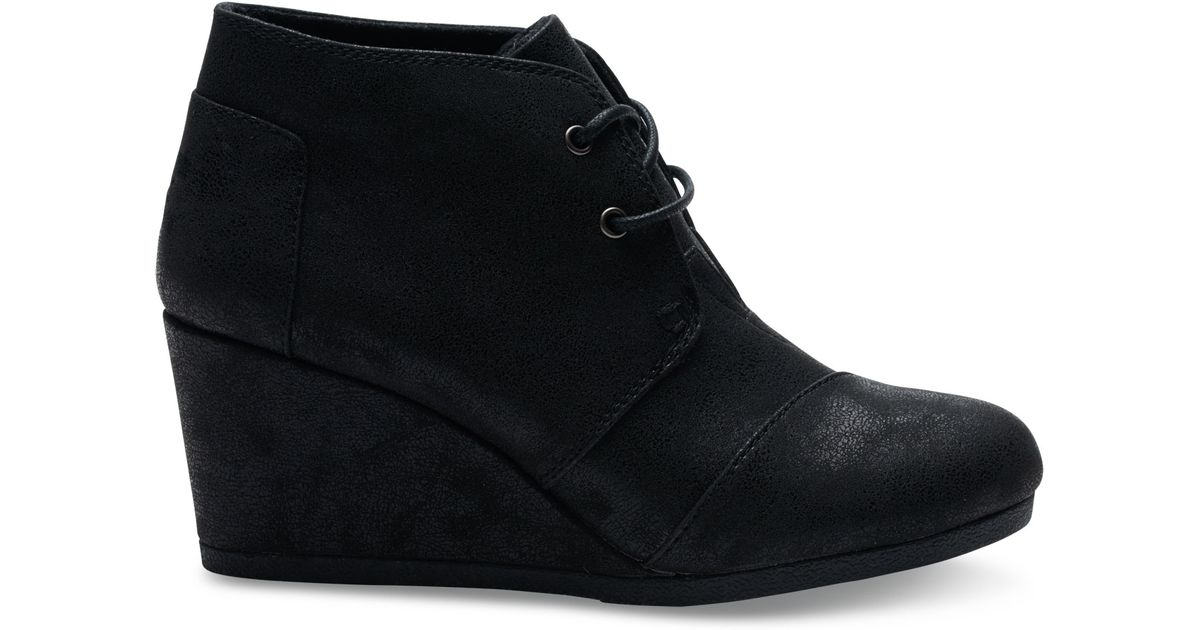 8693087e80c Lyst - TOMS Black Metallic Synthetic Leather Desert Wedges in Black