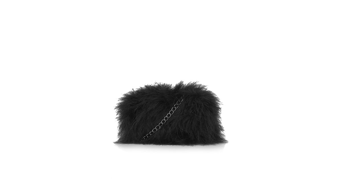 TOPSHOP Marabou Feather Box Bag in Black - Lyst 96ac668bc2303