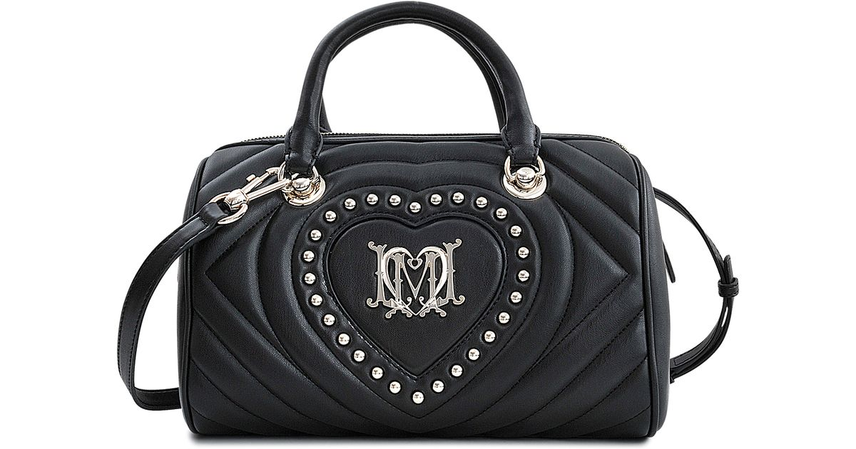 love moschino quilted heart bowling bag in black lyst. Black Bedroom Furniture Sets. Home Design Ideas