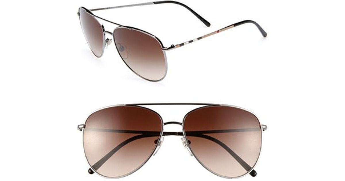 9ea8ad4a8a81 Burberry 'house Check Foil' 57mm Aviator Sunglasses - Gunmetal in Metallic  - Lyst