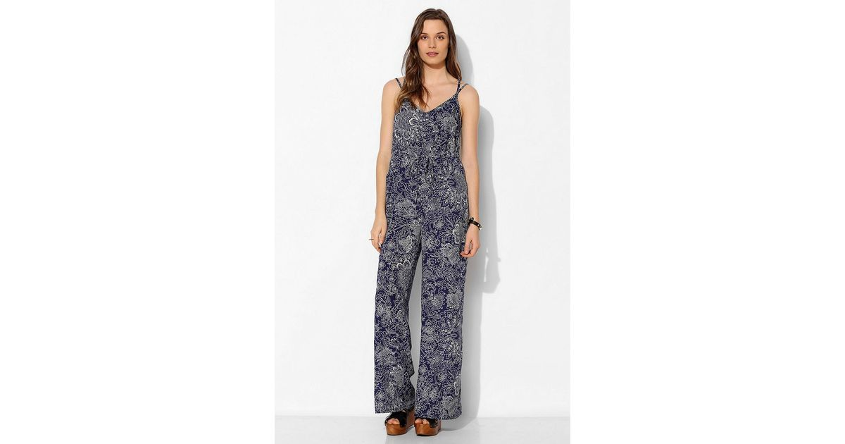611d49476f7 Lyst - Urban Outfitters Staring At Stars Silky Open Back Empire Jumpsuit in  Blue