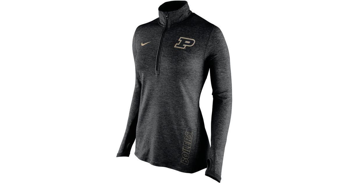 cb620e1ac7f Nike Women's Purdue Boilermakers Stadium Element Quarter-zip Pullover in  Black - Lyst