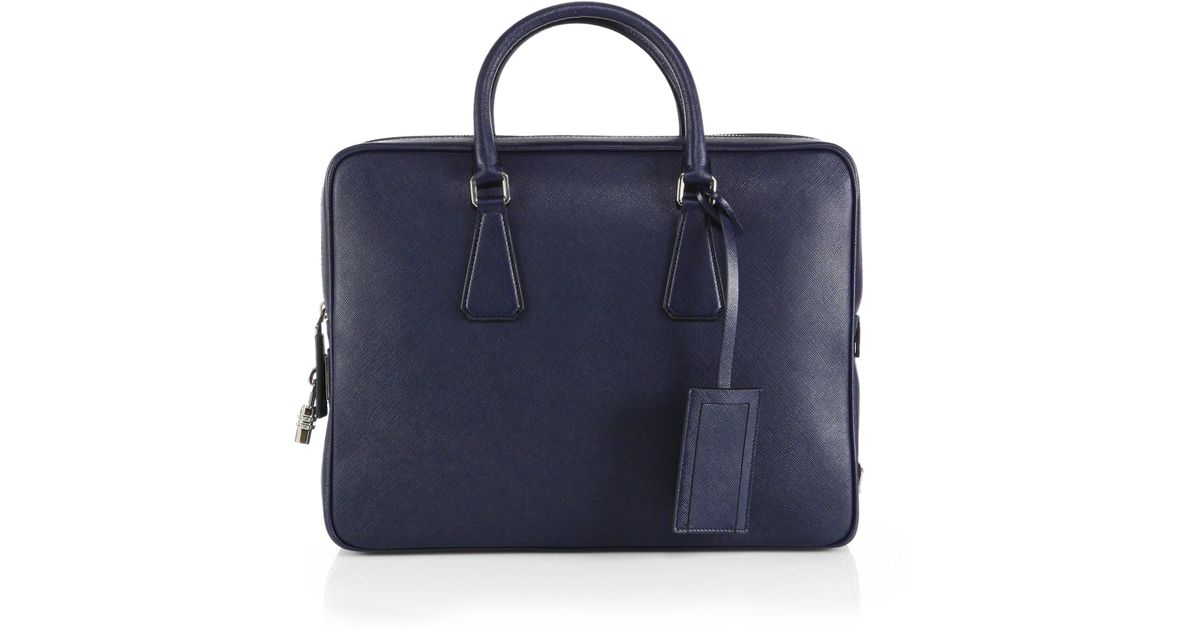 727790988514 Prada Saffiano Leather Briefcase in Blue for Men - Lyst