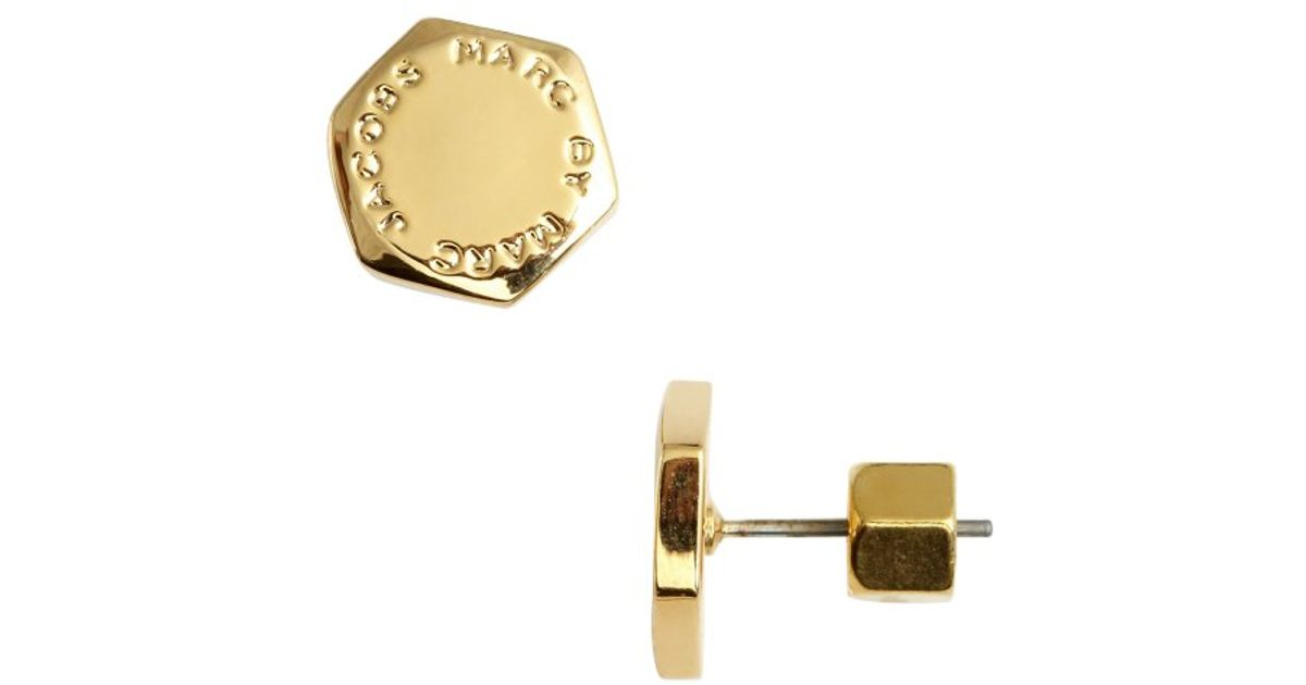 Lyst Marc By Jacobs Gold Plated Logo Bolt Stud Earrings In Metallic