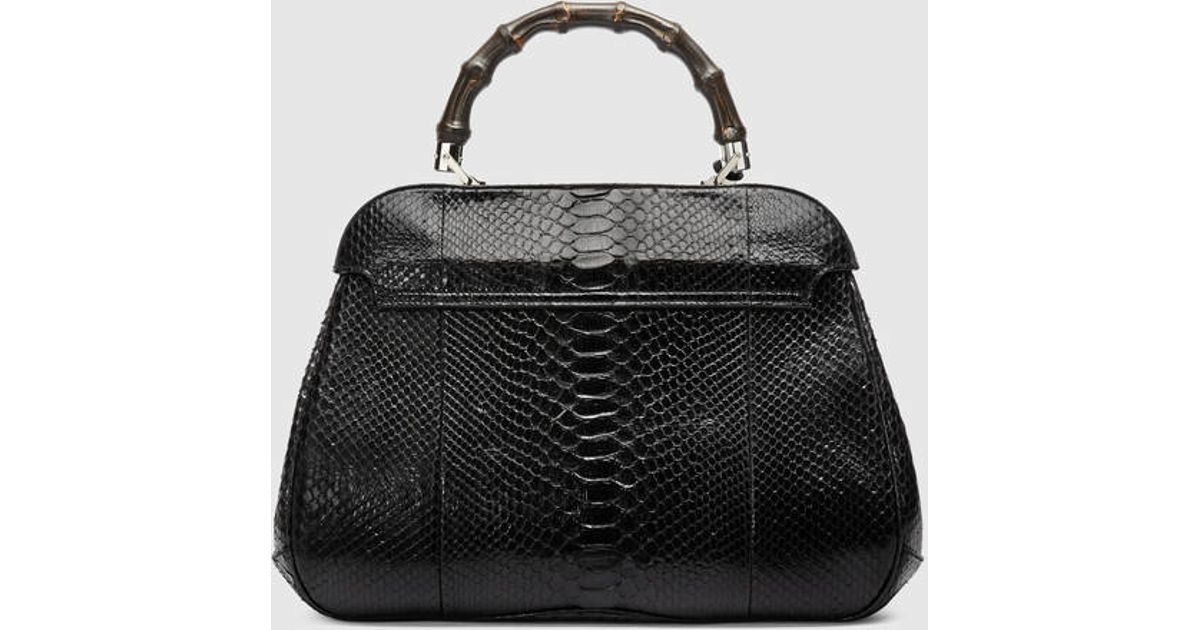 307b54c1b0b Lyst - Gucci Lady Lock Python Top Handle Bag in Black