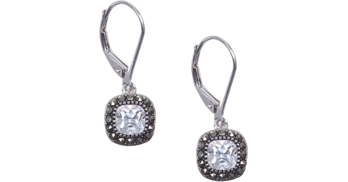 Silver & Swarovski marcasite interlinked hoop stud earrings
