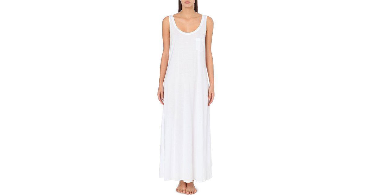 e9c529efea Hanro Deluxe Cotton-jersey Nightdress in White - Save 21% - Lyst