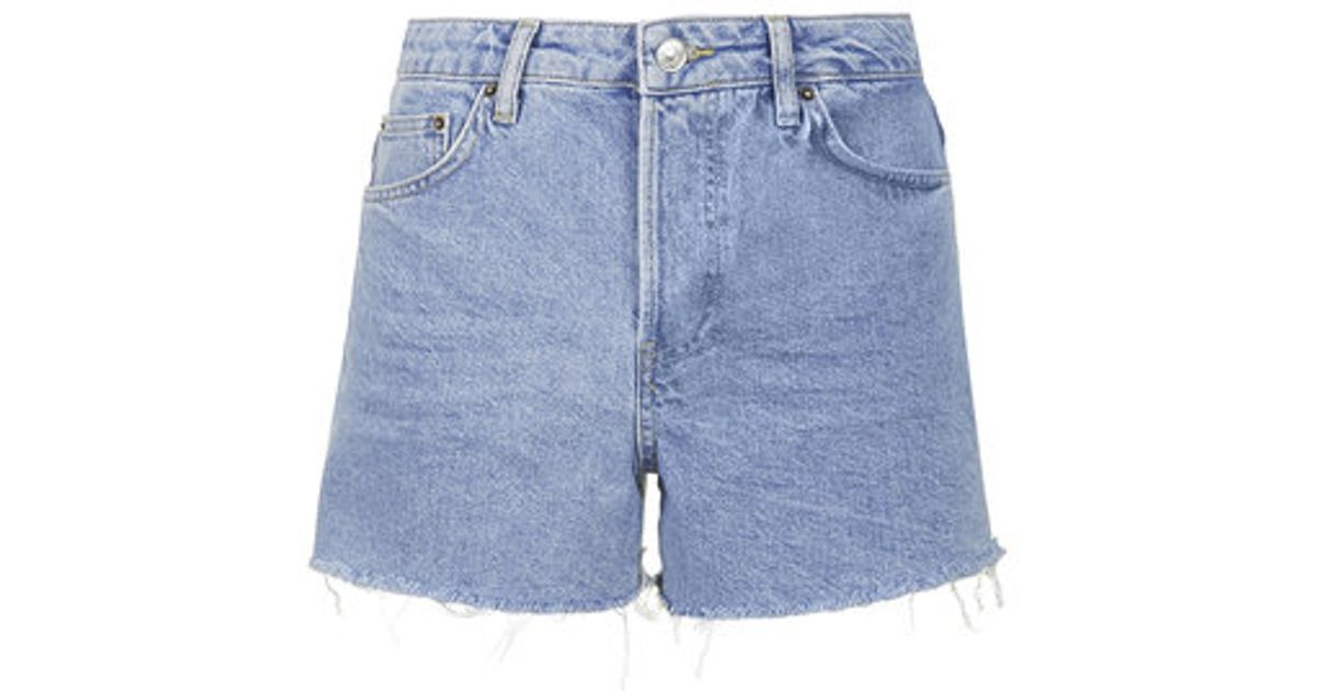 43f0a55e21bba TOPSHOP Moto Bleach Ashley Shorts in Blue - Lyst