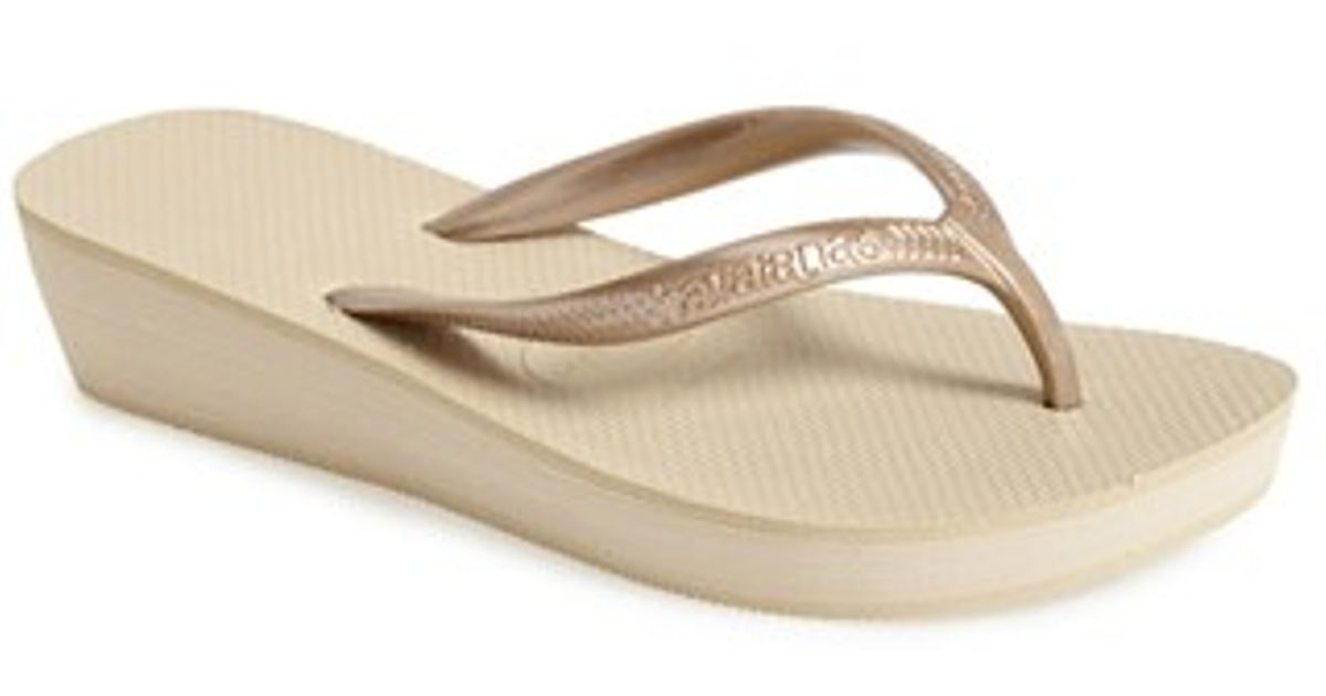 e4d3579ba2c Lyst - Havaianas  high Light  Wedge Flip Flop in Natural