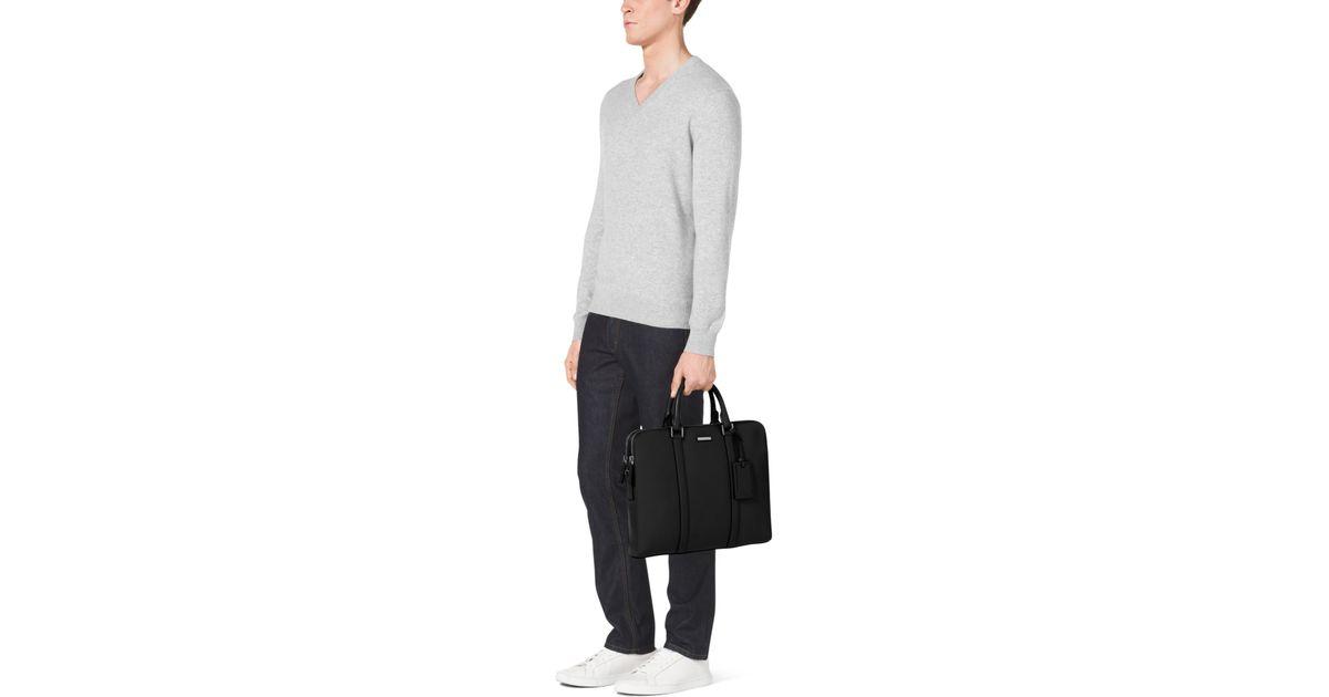 857fc0de8 Michael Kors Warren Slim Leather Briefcase in Black for Men - Lyst