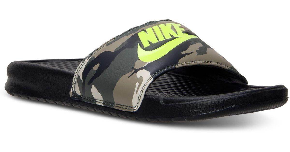 c0bf0b75298f65 Lyst - Nike Men S Benassi Jdi Print Slide Sandals From Finish Line in Brown  for Men