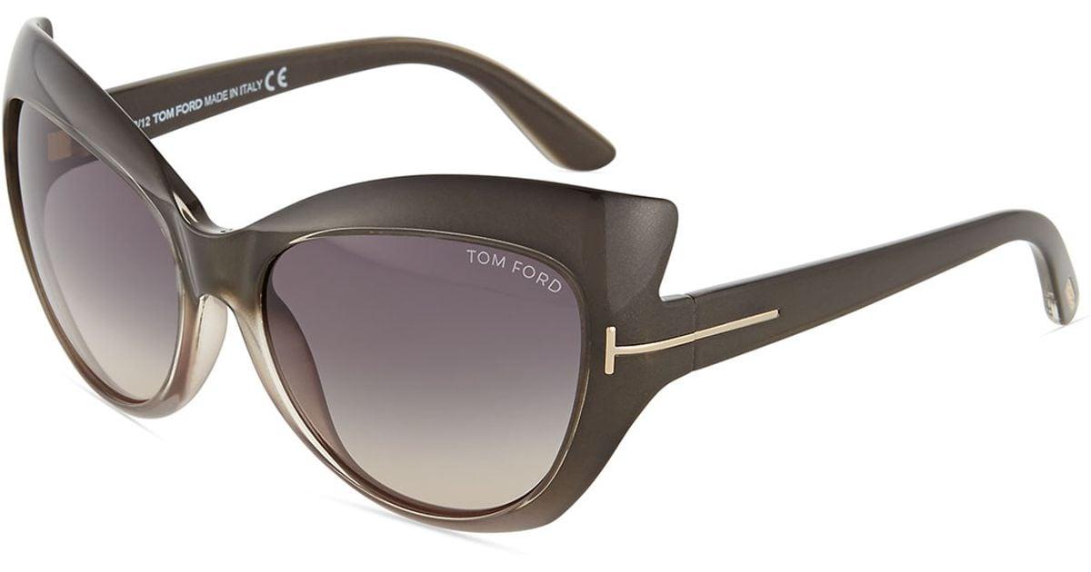 a72a999e1b Lyst - Tom Ford Bardot Sharp Cat-eye Sunglasses in Gray