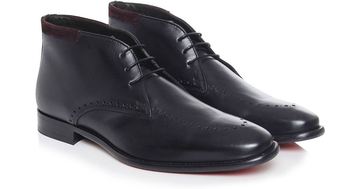 joss leather brogue chukka boots in black for lyst