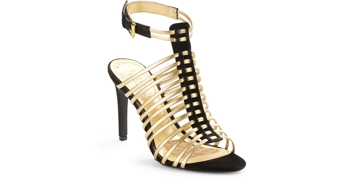 af554677f35 Lauren by Ralph Lauren - Metallic Skyla Ankle Strap Heels - Lyst