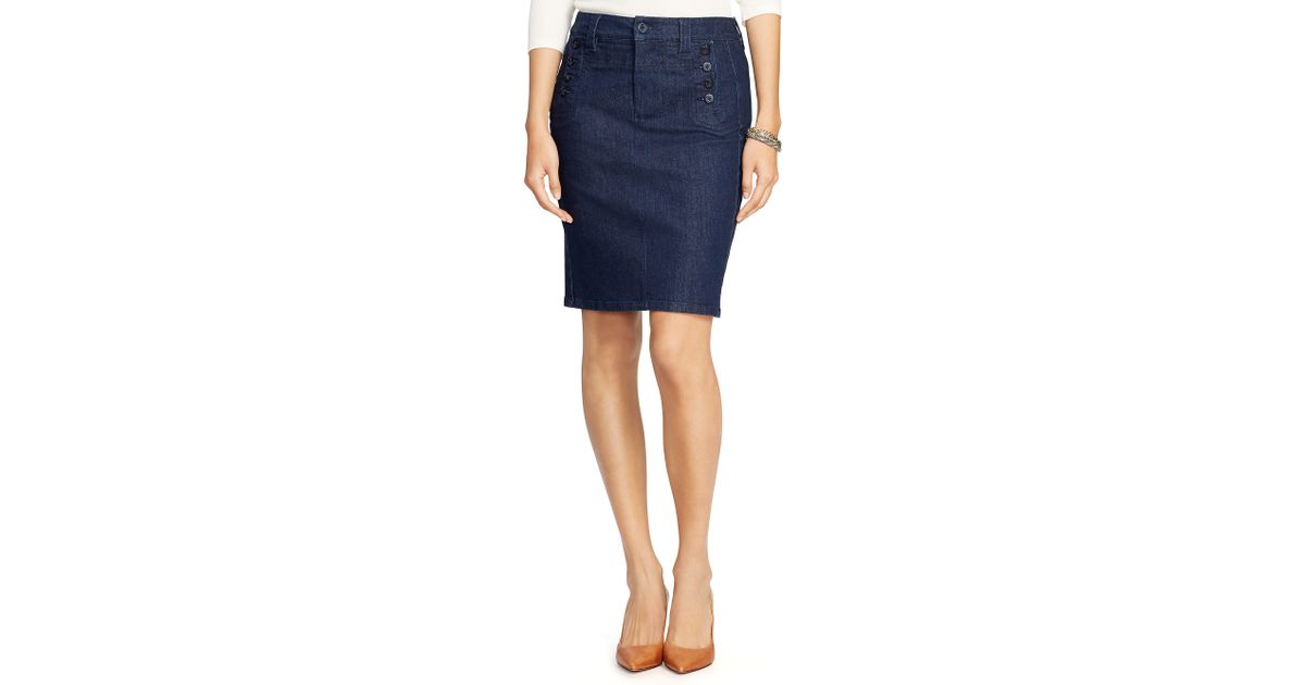 pink pony stretch denim pencil skirt in blue rinse indigo