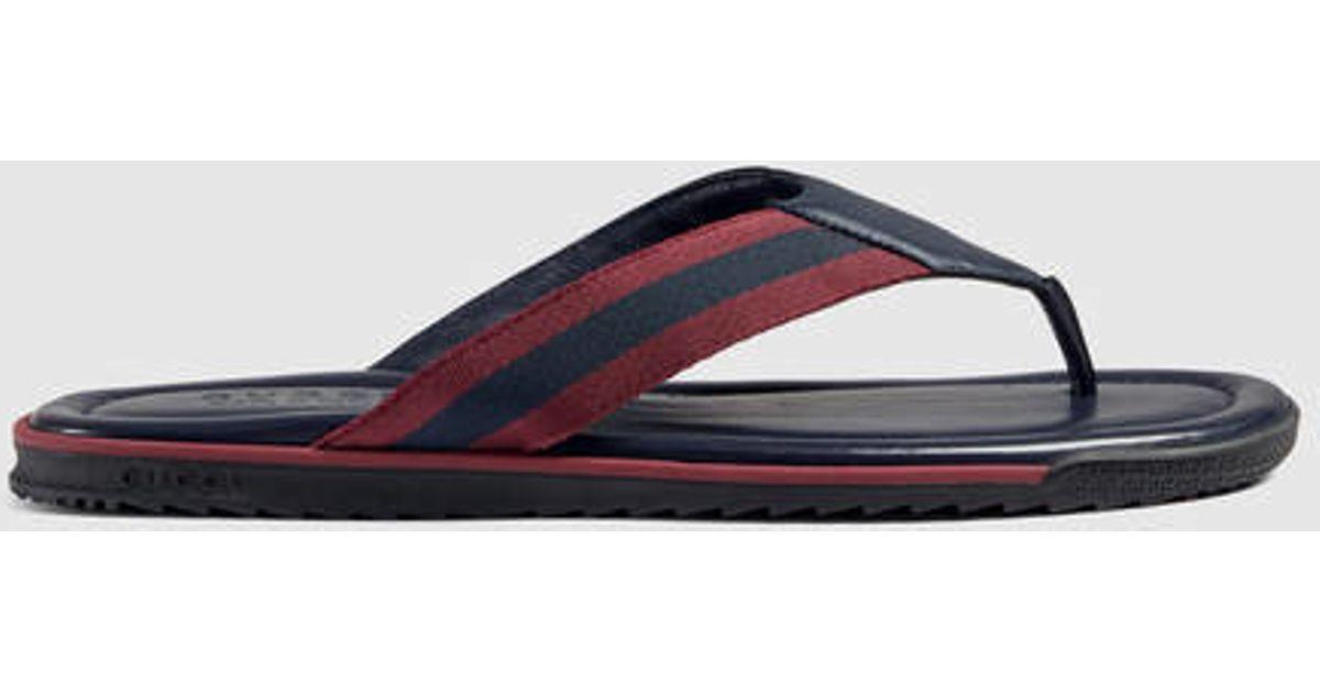 ac790366bddfa9 Lyst - Gucci Web Strap Thong Sandal for Men