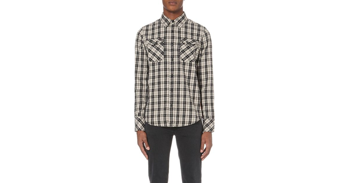 Nudie Jeans Gunnar Regular Fit Checked Cotton Flannel