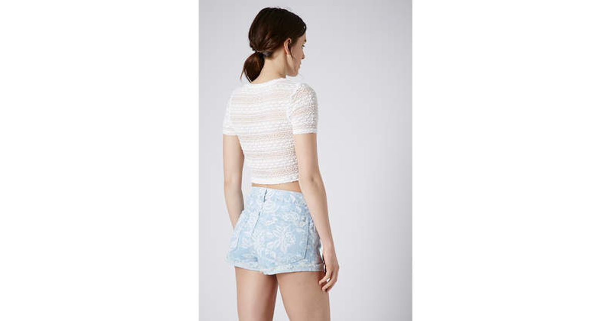 87b92be07894af Lyst - TOPSHOP Bobble Lace Crop Tee in White