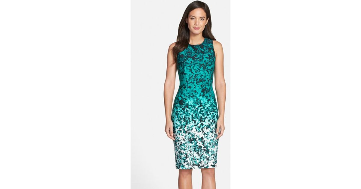 f946434f8a0a9 Lyst - Vince Camuto Ombre Floral Print Sleeveless Sheath Dress in Green