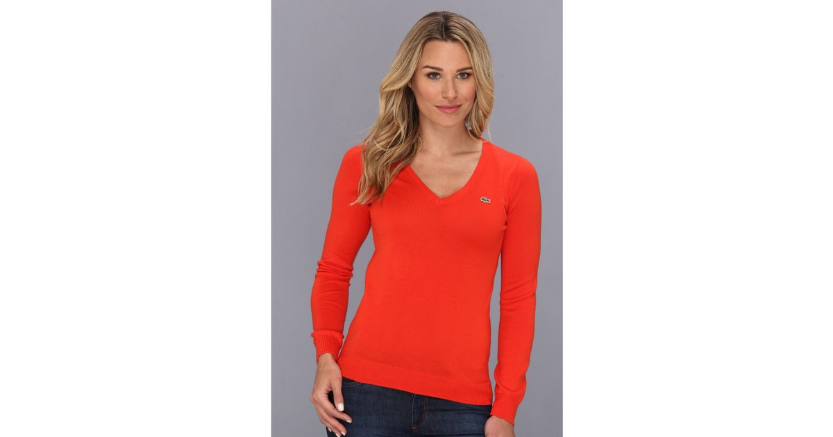 f7c6559b2 Lacoste Ls Extra Fine Cotton Vneck Sweater in Red - Lyst