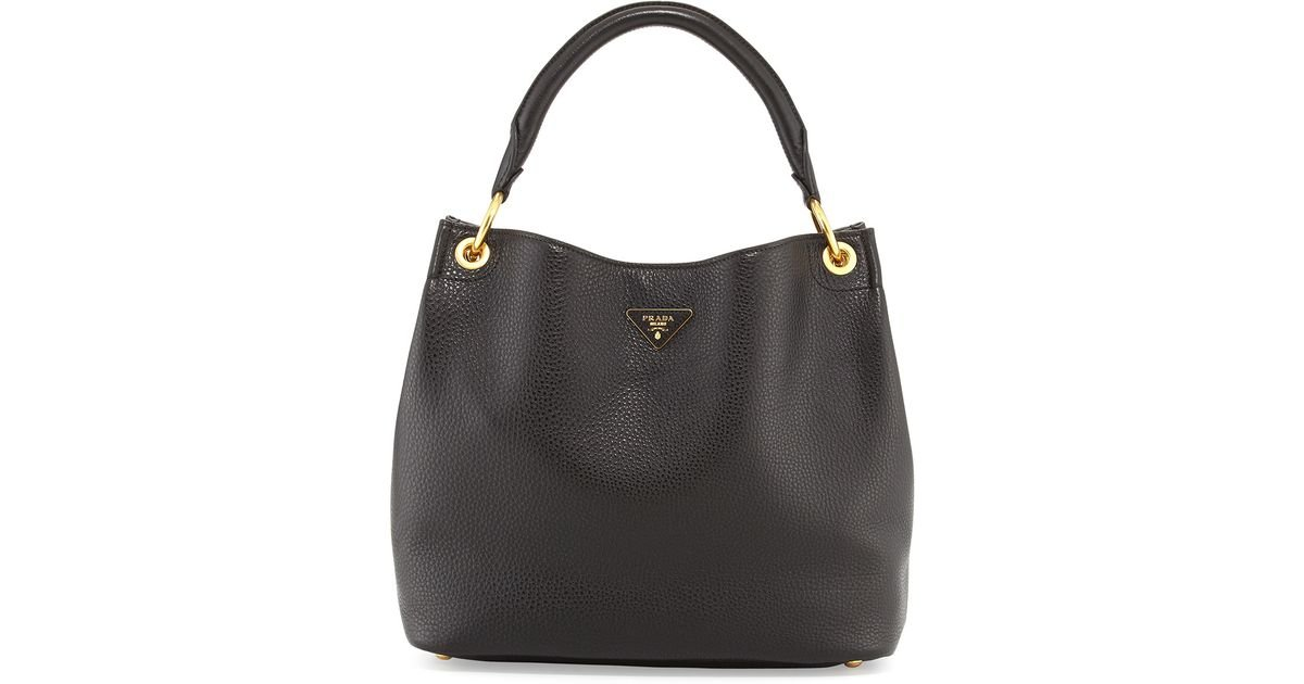 572d31c558f703 ... netherlands lyst prada vitello daino single strap hobo bag in black  0041d a7287