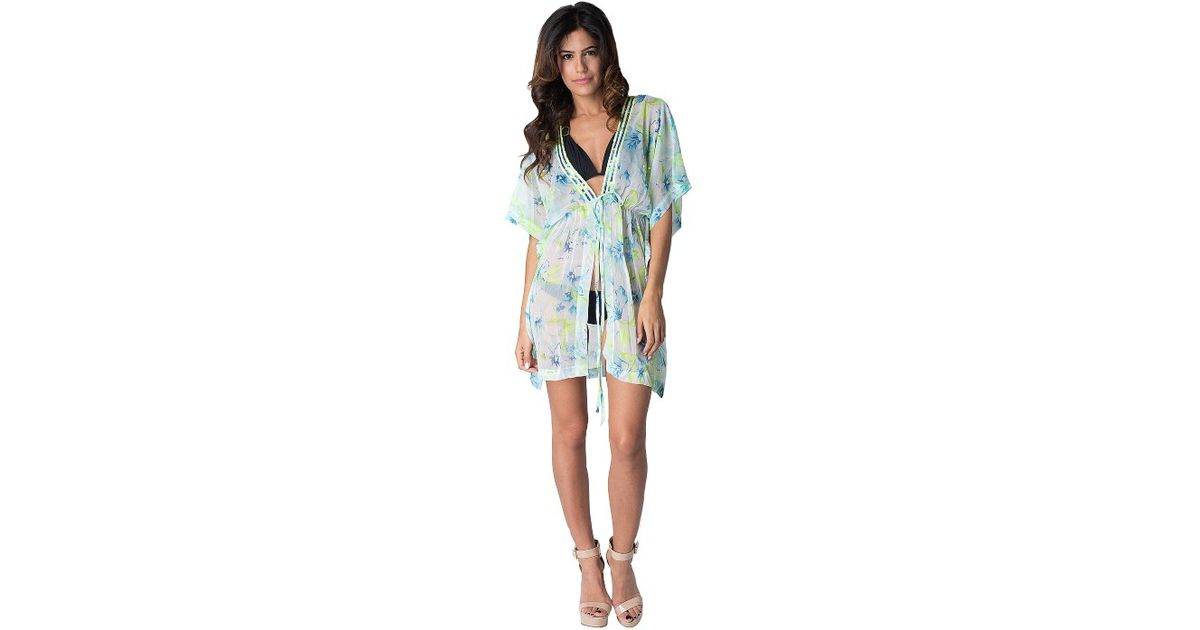 5a1889a642372 Lyst - Yuka Beach Chest Lace Short Cover Up  Blue pink in Green