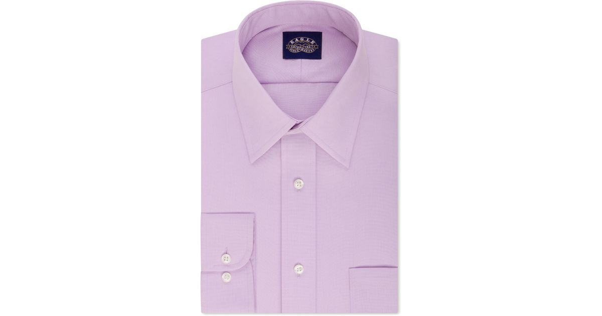 Eagle slim fit non iron solid dress shirt in purple for for Slim fit non iron dress shirts