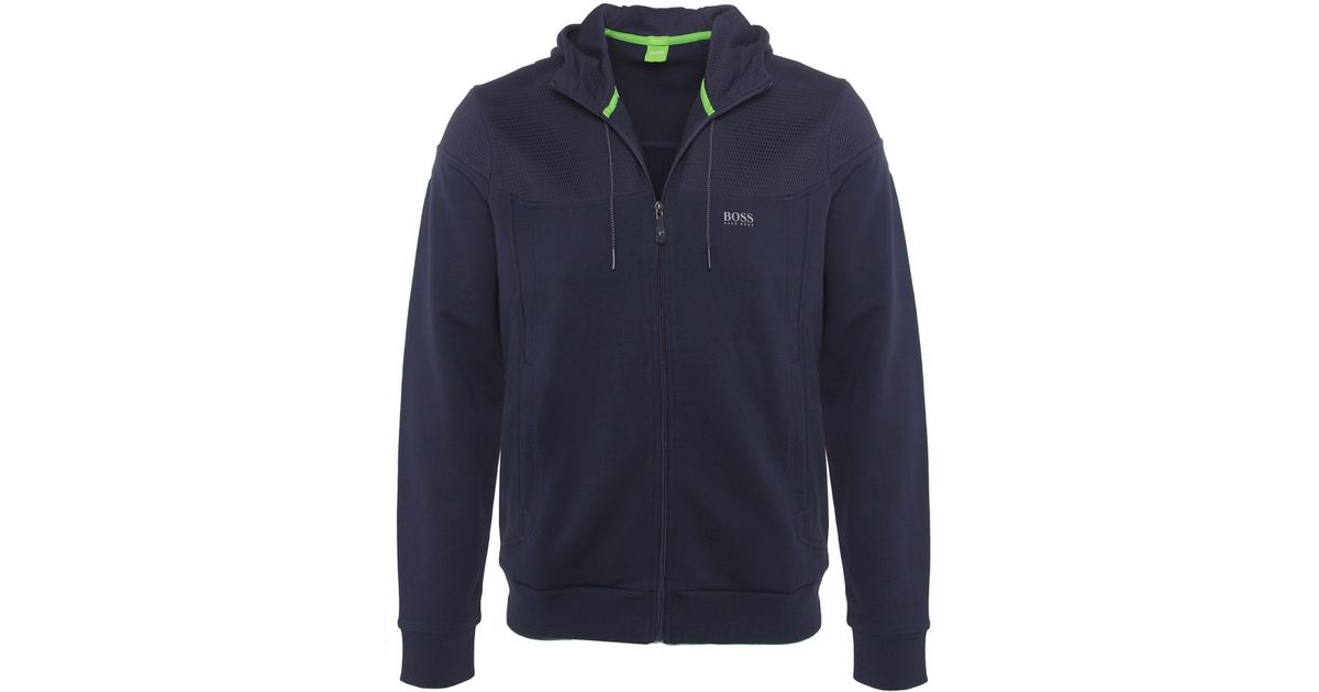 3fb80a676 BOSS Green Zip-through Saggy 1 Hoodie in Blue for Men - Lyst