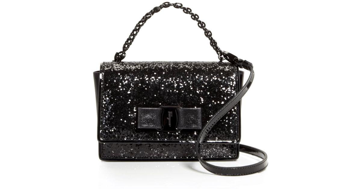 Lyst - Ferragamo Mini Bag - Ginny Glitter in Black 74ed739344