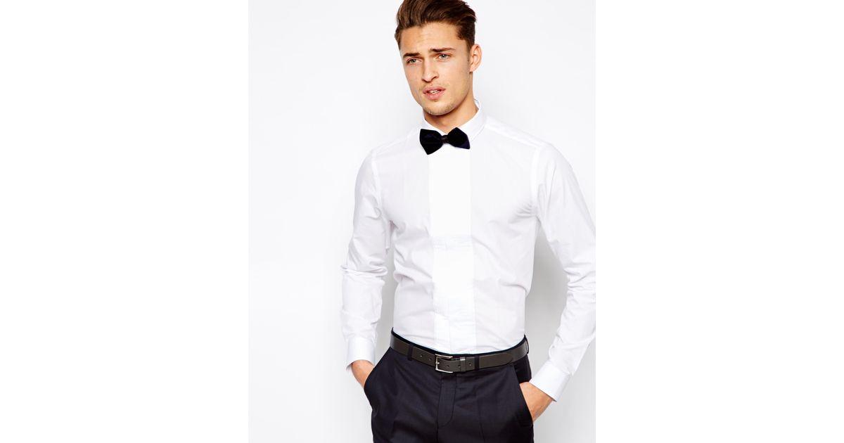 asos white smart tux shirt in long sleeve with pleated placket for men lyst1418460 Hugo Boss Tuxedo Shirt Nordstrom #14