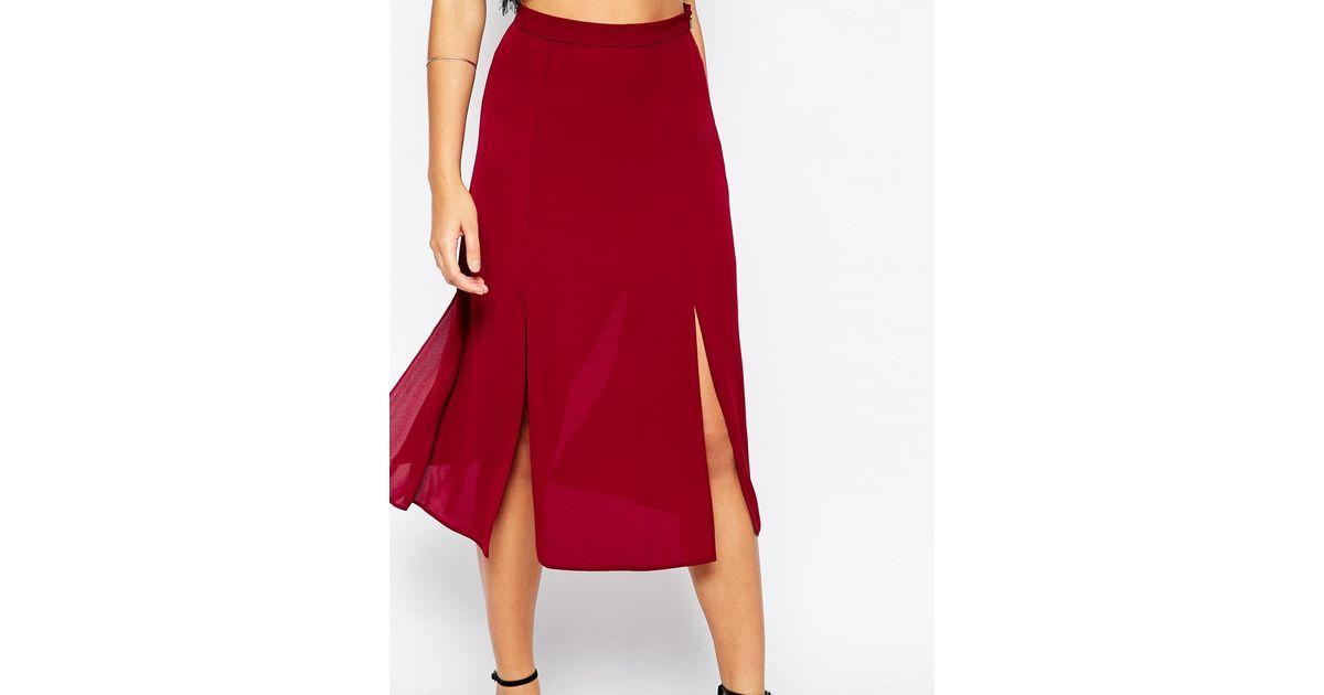 asos midi skirt with splices in purple burgundy lyst