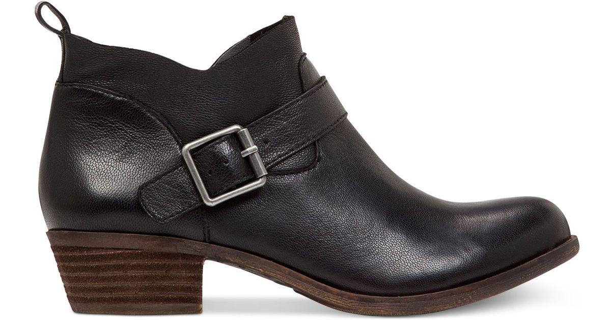 ef7622e66e82 Lyst - Lucky Brand Women s Boomer Low Heel Ankle Booties in Black
