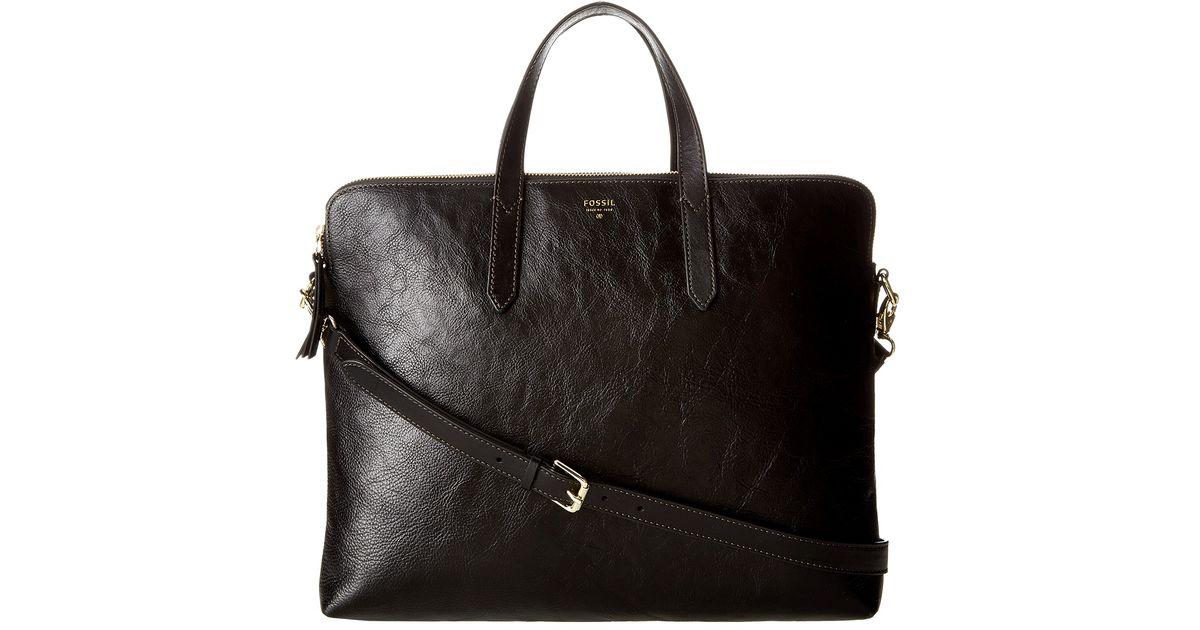 6eb264322e Lyst - Fossil Sydney Laptop Bag in Black