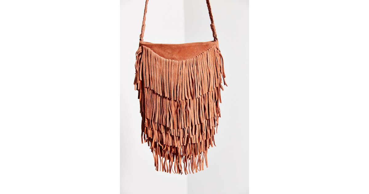 0531a1430 Ecote Suede Layered Fringe Crossbody Bag in Pink - Lyst